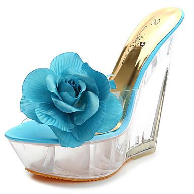cheap Women's Sandals-Women's PU(Polyurethane) Summer Sandals Wedge Heel Open Toe Satin Flower Blue / Pink / Almond / Party & Evening