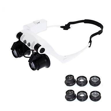 Недорогие Лупы-10x 15x 20x 25x носить очки с подсветкой увеличительное стекло увеличительное стекло часы ремонт лупы со светодиодными огнями