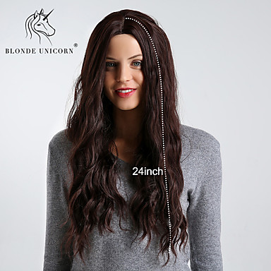Synthetic Wig Wavy / Bouncy Curl Style Middle Part Capless Wig Dark Brown Dark Brown / Dark Auburn Synthetic Hair 24 inch Women's Simple / Synthetic / Best Quality Dark Brown Wig Long BLONDE UNICORN