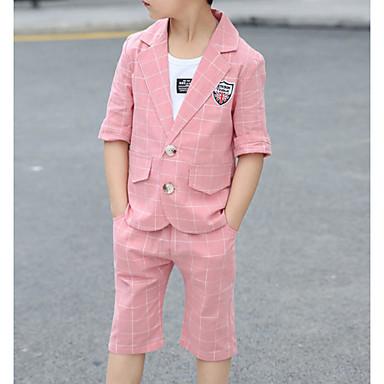 baratos Conjuntos para Meninos-Infantil Bébé Para Meninos Básico Moda de Rua Xadrez Estampado Manga Curta Algodão Terno & Blazer Marron