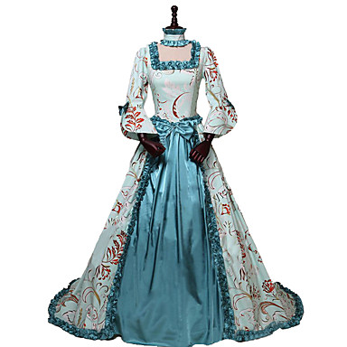 Princess Queen Elizabeth Rococo Victorian 18th Century Costume Women's Dress Party Costume Costume Blue Vintage Cosplay Silk Masquerade Party & Evening 3/4-Length Sleeve Off Shoulder Floor Length