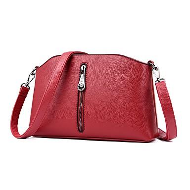 สำหรับผู้หญิง กระเป๋าต่างๆ PU กระเป๋าสะพาย ซิป สีทึบ ทับทิม / สีม่วง / สีน้ำตาล