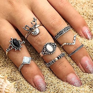 voordelige Ring-Dames Zwart Jaspis Klassiek Ring Ring Set Zon Elk Lucky modieus Modieus Modieuze ringen Sieraden Zilver Voor Feest Dagelijks Straat Verjaardag 8 stuks