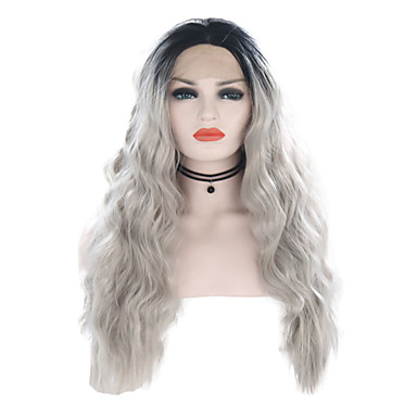Synthetic Lace Front Wig Wavy Style Middle Part Lace Front Wig Gray Ombre Color Synthetic Hair 24 inch Women's Adjustable / Heat Resistant / Women Gray / Ombre Wig Long Cosplay Wig / Ombre Hair / Yes