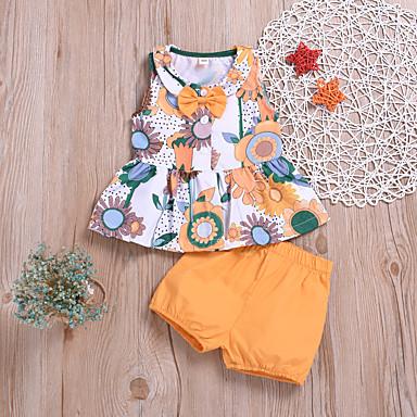お買い得  赤ちゃんウェア-赤ちゃん 女の子 活発的 / ベーシック プリント プリント ノースリーブ レギュラー レギュラー コットン アンサンブル オレンジ