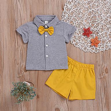 billige Familie-tøjsæt-Family Look Aktiv Basale Ensfarvet Kortærmet Normal Bomuld Tøjsæt Grå