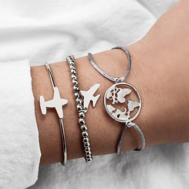 abordables Bracelet-3pcs Bracelet Jonc Bracelet à Perles Bracelet Femme Multirang Plans Avion simple Classique Rétro Vintage Mode Bracelet Bijoux Argent pour Quotidien Ecole Plein Air Sortie Festival