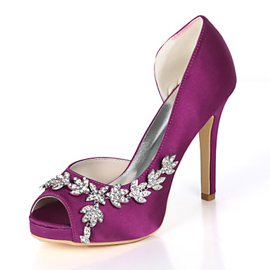 aca607f39b9 Women s Satin Spring   Summer Minimalism Wedding Shoes Stiletto Heel Peep  Toe Rhinestone Dark Purple   Champagne   Ivory   Party   Evening  07170262