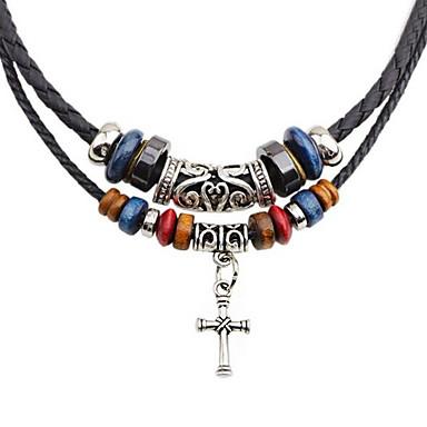 billige Mote Halskjede-Herre lagdelte Hals Dobbelt Lagdelt Kors Mote PU Leather Chrome Svart 45 cm Halskjeder Smykker 1pc Til Daglig