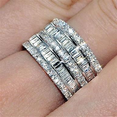 billige Motering-Dame Ring Evigheten Ring spinnring Kubisk Zirkonium 1pc Sølv Messing Rund Mote Iced Out Bryllup Fest Smykker Klassisk Smuk