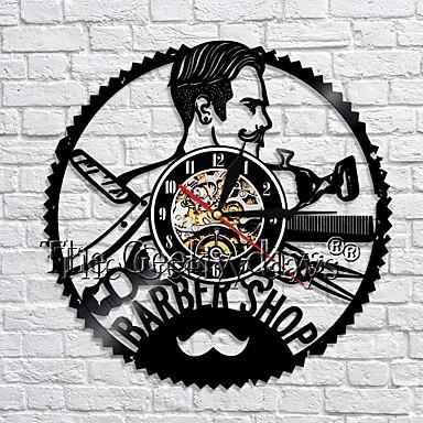 barber shop klokke dekoration væg ur frisør vinyl væg ur