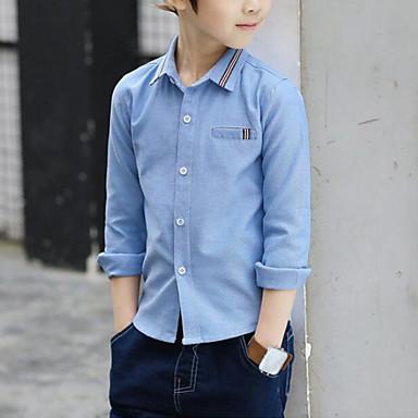 baratos Camisas para Meninos-Infantil Para Meninos Activo Moda de Rua Diário Para Noite Listrado Patchwork Estampado Manga Longa Padrão Camisa Azul