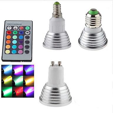 abordables Ampoules électriques-1pc 3 W Spot LED 300 lm E14 GU10 E26 / E27 1 Perles LED SMD Intensité Réglable Commandée à Distance Décorative RVB 85-265 V