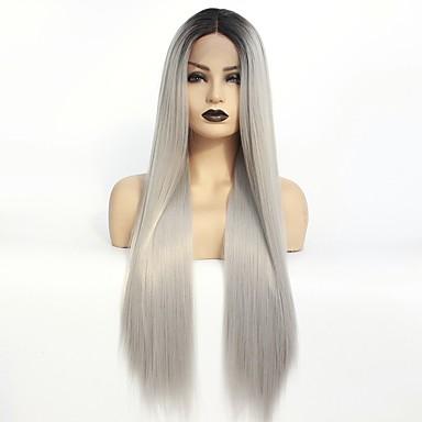 Synteettiset pitsireunan peruukit Suora Taylor Tyyli Keskiosa Lace Front Peruukki Ombre Musta / Harmaa Synteettiset hiukset 22-26 inch Naisten Heat Resistant / Naisten / Color Gradient Ombre Peruukki