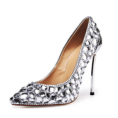 cheap Women's Shoes New Arrivals-Women's Patent Leather Spring &  Fall Wedding Shoes Stiletto Heel Pointed Toe Rhinestone / Crystal Silver / Party & Evening