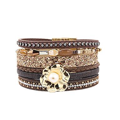 abordables Bracelet-Bracelets en cuir Femme Multirang Pétale Elégant Bohème Bracelet Bijoux Marron pour Cadeau Quotidien Entraînement Soirée Anniversaire