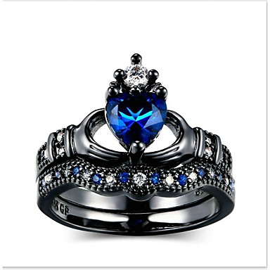 voordelige Heren Ring-Heren Dames Blauw Ring Verlovingsring Modieuze ringen Sieraden Donkerblauw Voor Dagelijks Ceremonie 5 / 6 / 7 / 8 / 9 2pcs