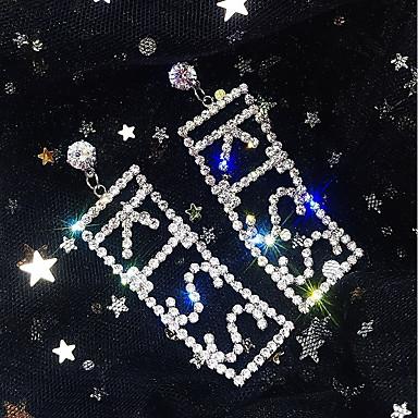 billige Moteøreringer-Dame Dråpeøreringer Monogram Statement Fuskediamant øredobber Smykker Gull / Sølv Til Bryllup Fest Karneval Klubb Bar 1 par