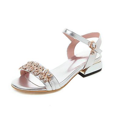 สำหรับผู้หญิง หนังเทียม ฤดูร้อนฤดูใบไม้ผลิ รองเท้าแตะ ส้นหนา เปิดนิ้ว สีทอง / สีเงิน / สีชมพู