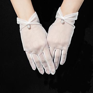 Tyll Rannepituus Glove Helmikoristellut reunat / Tyylikäs Kanssa Acrylic Diamond / Faux Pearl / Pendant