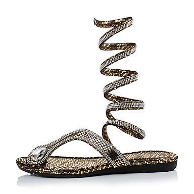 cheap Women's Shoes New Arrivals-Women's PU(Polyurethane) Summer Casual Sandals Flat Heel Open Toe Gold / Silver