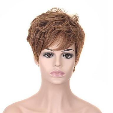 Synthetische pruiken Natuurlijk recht Stijl Asymmetrisch kapsel Zonder kap Pruik Blond Aardbeien Blond Synthetisch haar 6 inch(es) Dames Feest Blond Pruik Kort Cosplaypruik