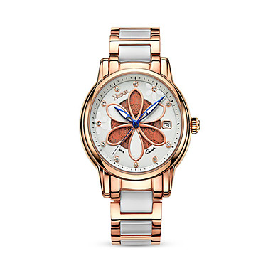 cheap Women's Watches-nesun Women's Quartz Watches Casual Fashion White Silver Red Ceramic Genuine Leather Chinese Quartz Silver Red Rose Gold Water Resistant / Waterproof Calendar / date / day Noctilucent 30 m 1 pc Analog