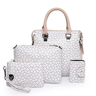 9239cfff54 Γυναικεία Τσάντες PU Σετ τσάντα 4 σετ Σετ τσαντών Φερμουάρ Γεωμετρικό Μαύρο    Ανθισμένο Ροζ   Καφέ