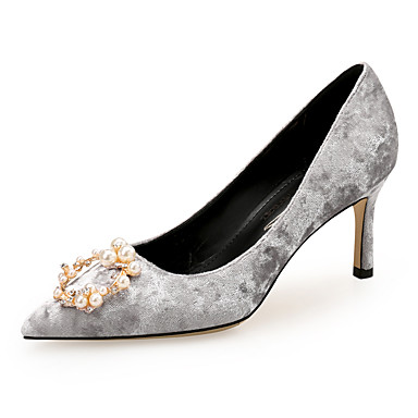 ff20f79b0465 Women s Suede Spring   Fall Classic   Sweet Wedding Shoes Stiletto Heel  Pointed Toe Rhinestone   Imitation Pearl Black   Light Grey   Red   Party    Evening