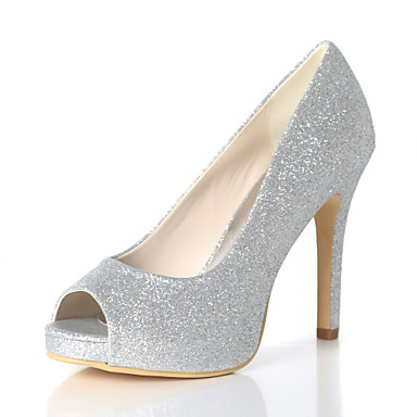 034593c81fa6 Women s Synthetics Spring   Summer Minimalism Wedding Shoes Stiletto Heel  Peep Toe Sparkling Glitter Silver