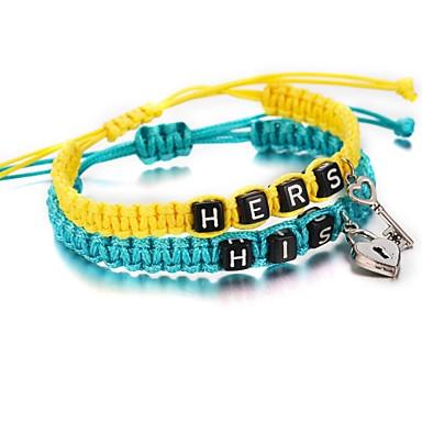 voordelige Herensieraden-2pcs Heren Dames Vriendschaps armband gevlochten Standaard Paracord Armband sieraden Geel Voor Afspraakje