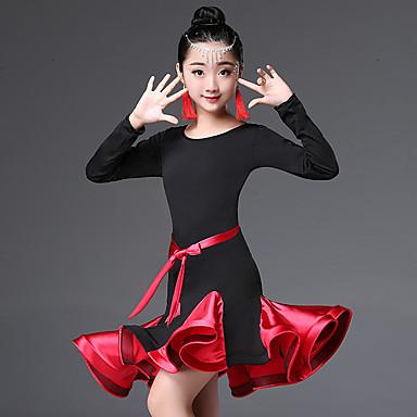 Danse latine / Tenues de Danse pour Enfants Robes Fille Utilisation Nylon Ruché / Combinaison Manches Longues Taille haute Robe