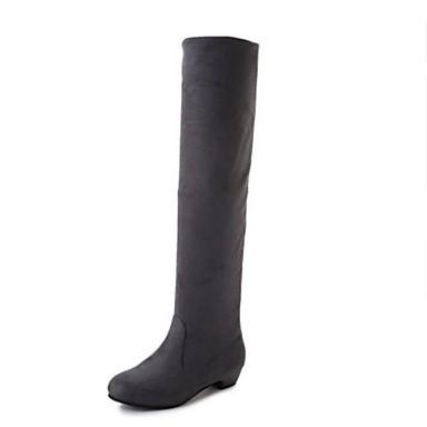 voordelige Dameslaarzen-Dames Laarzen Blokhak Nappaleer Knielaarzen Modieuze laarzen / slouch boots Winter Grijs / Bruin / Rood / EU39