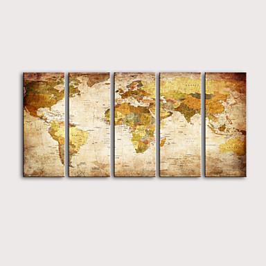 billige Trykk-Trykk Valset lerretskunst Strukket Lerret Trykk - Abstrakt Kart Moderne Fem Paneler Kunsttrykk