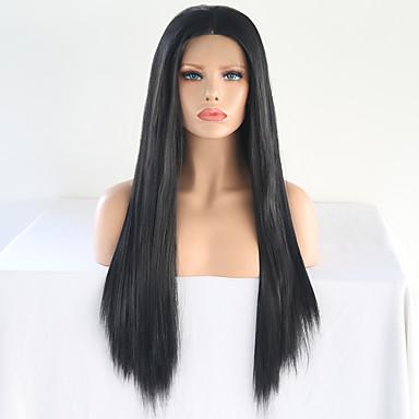 Peluca Lace Front Sintéticas Liso Sedoso Estilo Parte media Encaje Frontal Peluca Negro Negro Natural Pelo sintético 24-26 pulgada Mujer Ajustable / Resistente al Calor / Mujer Negro Peluca Larga