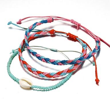voordelige Herensieraden-3 stuks Heren Dames Vriendschaps armband Touw gevlochten Schelp Standaard Paracord Armband sieraden Regenboog Voor Afspraakje