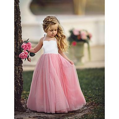 billige Pigekjoler m. print-Børn Pige Basale Dusty Rose Ensfarvet Uden ærmer Maxi Kjole Lyseblå