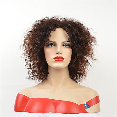 Syntetiska peruker Lockigt Stil Asymmetrisk frisyr Utan lock Peruk Brun Medium Rödbrun Syntetiskt hår 12 tum Dam Party Brun Peruk Korta Cosplay Peruk