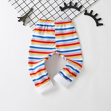 baratos Calças & Leggings para Meninas-Infantil Bébé Para Meninas Básico Temática Asiática Listrado Estampado Algodão Leggings Arco-íris