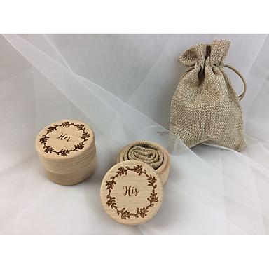 billige Bryllupsseremoni-Falsk Lin / Bøk Spredt Perle Blomstermotiv Stil Træ Ringpute Boks-kamera / Bryllup / hender Alle årstider