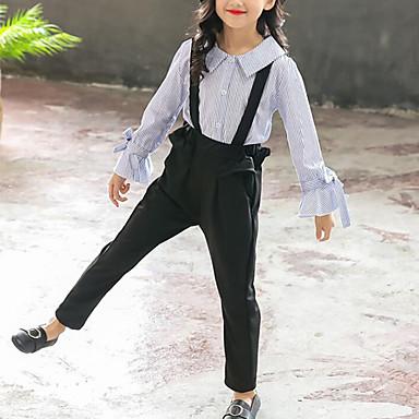 baratos Conjuntos para Meninas-Infantil Para Meninas Activo Moda de Rua Diário Para Noite Listrado Frufru Manga Longa Padrão Conjunto Azul