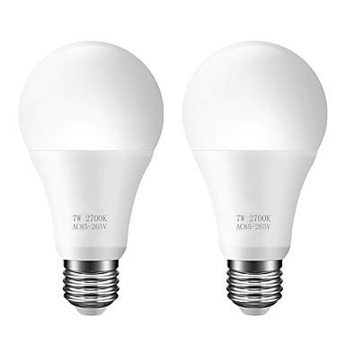 halpa LED-pallolamput-zdm 2pcs a60-valoanturin lampun johtama älykäs valaistus 7w e26 / e27 kytkeytyy automaattisesti päälle / pois ac85-265v