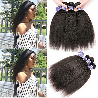 baratos Extensões de Cabelo Natural-6 pacotes Cabelo Peruviano Yaki Yaki Liso Cabelo Virgem 100% Remy Hair Weave Bundles Peça para Cabeça Cabelo Humano Ondulado Cabelo Bundle 8-28 polegada Natural Tramas de cabelo humano Design Moderno