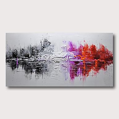 Hang festett olajfestmény Kézzel festett - Absztrakt Absztrakt tájkép Kortárs Modern Tartalmazza belső keret / Nyújtott vászon