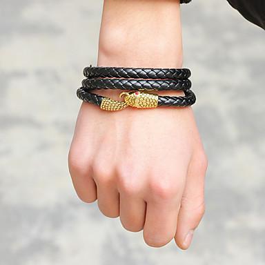 abordables Bracelet-Bracelets Plusieurs Tours Bracelets Vintage Bracelets en cuir Homme Serpent Cuir Serpent Gros Fantaisie simple unique Rock Mode Bracelet Bijoux Dorée Argent Marron pour Carnaval Plein Air Soirée