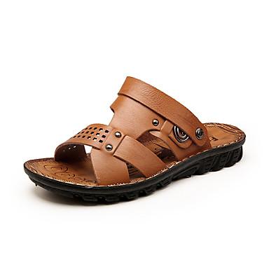 baratos Super Ofertas-Homens Sapatos Confortáveis Microfibra Primavera Verão Formais Sandálias Respirável Amarelo / Marron / Khaki