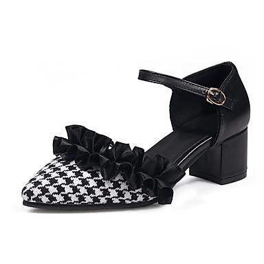 c555682a9 نسائي جلد ظبي للربيع والصيف كعوب كعب متوسط حذاء براس مدبب أسود / أسود وأبيض