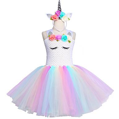billige 10/11-unicorn tutu kjole kneelengde pastell regnbue barn halloween enhjørning pannebånd sett
