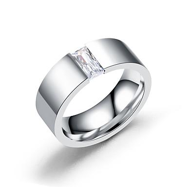 voordelige Herensieraden-Heren Ring Zirkonia 1pc Zilver Titanium Staal Stijlvol Dagelijks Verlovingsfeest Sieraden