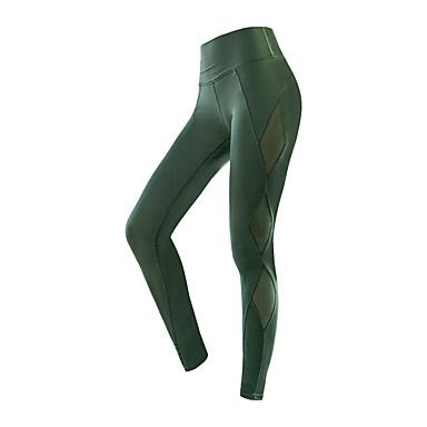 בגדי ריקוד נשים טלאים מכנסי יוגה ספורט צבע אחיד רשת גיזרה גבוהה טייץ רכיבה על אופניים כושר וספורט כושר אמון לבוש אקטיבי נושם ייבוש מהיר תומך זיעה בקרת בטן גמישות גבוהה סקיני